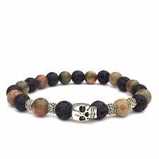 Gemstone Skull Bracelet Unakite Diffuser Bracelet Unisex Lavastone Bracelet