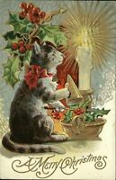 Christmas humanized cat candle snuffer ~ 1909 vintage postcard