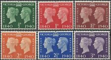 Great Britain 1940 STAMP CENTENARY QVictoria KGVI (6) HINGED Mint, SG 479-484