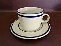 Stoneware Cup & Saucer Set White/Blue Made in Japan (Cat.#13D011)