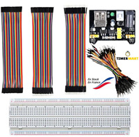 Kit 120 câbles Dupont, BREADBOARD 830, Alimentation MB102, 65Cables M-M, Arduino