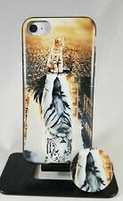 Printed Cat and tiger reflections yellow case and phone holder/stand