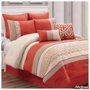 Riverbrook Home Janna 8 Pc King Comforter Set Orange NEW NWT 350.00