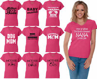 60 DESIGNS Mother's Day Women V-neck T-shirt Mom's Gift PINK - 4