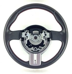 Genuine OEM Toyota GT86 black leather silver trim, red stitch steering wheel. 2D