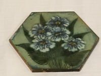 Vintage H&E Smith Ceramic Green and Blue Wall Tile Trivet England