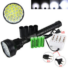 Recharge 5 Modes 32000LM 24x XM-L T6 LED Flashlight Torch +4x 18650 Camping Lamp
