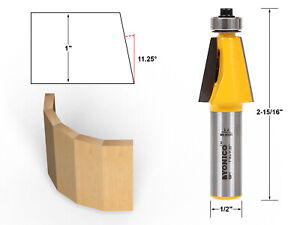 """11.25 Degree Chamfer Edge Forming Router Bit - 1/2"""" Shank - Yonico 13911"""