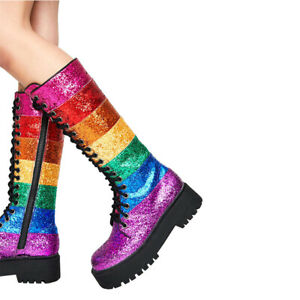 Womens Platform Lace Up Colorful Sequins Knee High Boots Knight Shoes Side Zip