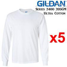 Gildan Long Sleeve T-SHIRT White blank plain tee S-3XL Men's Ultra Cotton jumper