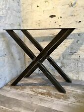 2 Handmade X Frame Raw Steel Large Dining Table Furniture Legs Industrial Style