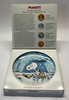 "Peanuts Snoopy Woodstock Hockey Plate ""Puck Stops Here"" Schmid Vintage Collect"