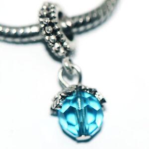 Blue Drop Dangle Bead Spacer Charm Fit Eupropean Chain Bracelet Making Jewelry