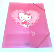 Hello Kitty A4+ PLASTIC DOCUMENT WALLET Elastic PINK WHITE DOTS Rose Heart FILE