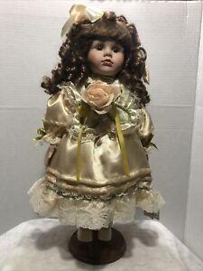 Geppeddo Porcelain Vinyl Doll (16B988) On Stand 16in