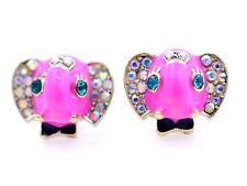 Vintage retro style pink enamel elephant stud earrings with crystal