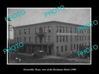 OLD LARGE HISTORIC PHOTO OF GREENVILLE TEXAS, VIEW OF THE BECKMAN HOTEL c1900