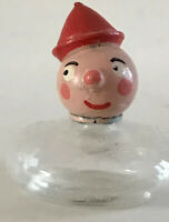 """Vintage Miniature Small Perfume Bottle Glass Wood Italy Clown Collectible 2"""""""