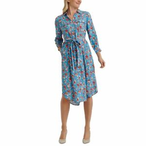 LUCKY BRAND NEW Women's Blue Multi Floral-print Utility Shirt Dress S TEDO