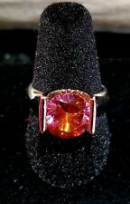 Ring and necklace white gold over silver Orange Zirconium or Topaz Incredible!