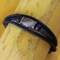 Surferarmband Lederarmband Armband Edelstahl Wickelarmband Herrenarmband Damen