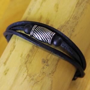 Surfer Leather Bracelet Wristband Stainless Steel Wrap-Around Men's Ladies