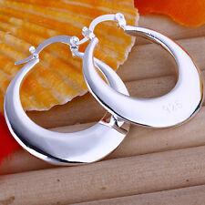 Wholesale 925Sterling Silver Jewelry Smooth Moon Women Dangle Hoop Earrings E077