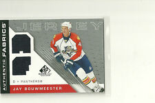 JAY BOUWMEESTER 07-08 UPPER DECK SP GAME USED DUAL JERSEY FLORIDA PANTHERS