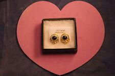 BELLISSIMO colore oro Orecchini con onice e Diamantini Largo 1.6 cm in confezione regalo