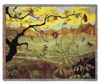 ASIAN APPLE TREE FRUIT TAPESTRY THROW AFGHAN BLANKET 70x54