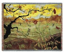 ASIAN APPLE TREE FRUIT TAPESTRY THROW AFGHAN BLANKET 70x54