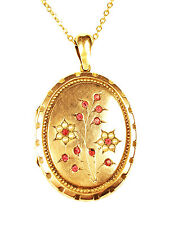 Victorian Brass Locket with Seed Pearls & Garnets - Unsigned - Circa 1880