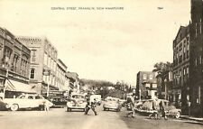 Antique Picture Postcard Central Street Franklin New Hampshire Shops Cars Town