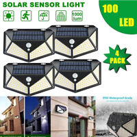 100 LED Solar Power PIR Motion Sensor Waterproof Wall Light Outdoor Garden Lamp~