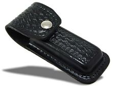 Basket weave Black Leather Folding Pocket Lockback Knife Sheath Pouch 5""