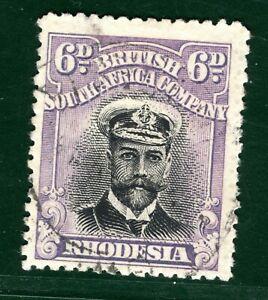 RHODESIA BSACo KGV Stamp Admiral 6d Used EBLUE46