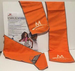 """MISSION~ENDURACOOL Microfiber Cooling Towels ~ Set of 2 ~ 41""""x6"""" ~ Orange"""
