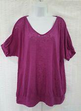 Torrid Top Short Sleeve Cold Shoulder Shirt Fuchsia Plus Size 1