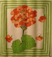 Vintage RED GERANIUM 14 X 14 Pillow or Frame HANDPAINTED NEEDLEPOINT CANVAS NEW