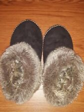 Is Clog Slippers With Faux Fur Trim ~ Brown 7.5