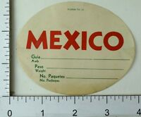 1940's-50's Mexico Form TE-12 Airline Luggage Label Poster Stamp Vintage E8
