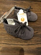 NWT Gymboree baby boy girl unisex gray fringed suede moccasins shoes 0 3 6 12 18