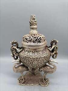 "9.1"" Collect China Paktong Fengshui Three Crane Dragon Ear Lotus Incense Burner"