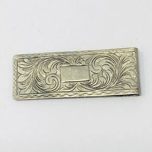Vintage Art Nouveau Etched Scroll Italy .925 Sterling Silver Money Clip