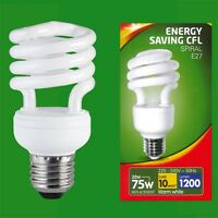 2x 20W (=75W) Low Energy CFL Spiral Light Bulb ES E27 Edison Screw Lamp