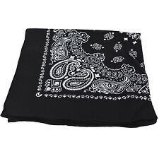 BLACK cotton square headwear head neck bandana scarf scarve paisley bandanna tie