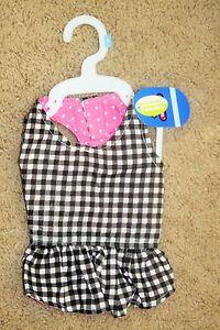 NWT Top Paw Pink Polka Dot Dog Sun Dress SMALL S Black White Plaid Reversible