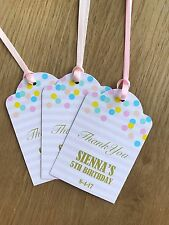Pastel Confetti Personalised Thank you Tags~Bridal/Baby Shower, Birthday