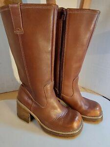 Vtg Frye Dorian Boots Cognac Sz 7 Chunky Heel Leather Platform Shoes Womens 90s