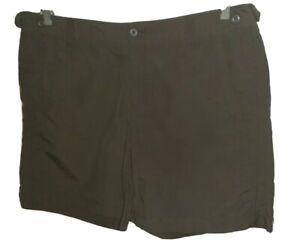"Womens New EDDIE BAUER Charcoal Gray Adjustable Waist Nylon Camp Shorts. Ins 7"""